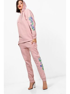 BOOHOO Abigail Athleisure Embroidered Hooded Tracksuit