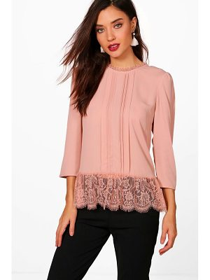 BOOHOO Abigail Eyelash Lace Trim Blouse