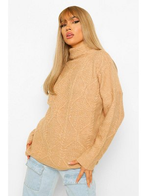 Boohoo All Over Cable Knit Turtle Neck Sweater