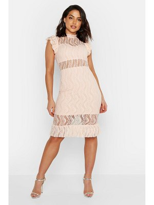 Boohoo All Over Lace Short Sleeve Midi Dress