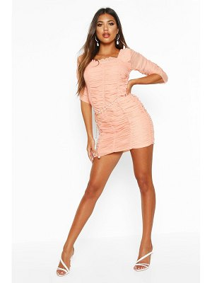 Boohoo All Over Mesh Ruched Mini Dress