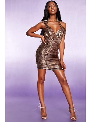 Boohoo All Over Ruched Halterneck Metallic Dress