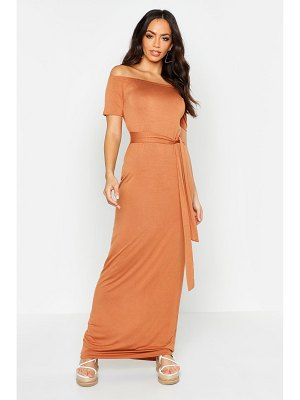Boohoo All Sizes Off The Shoulder Belted Maxi Dress