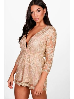 BOOHOO Allie All Over Embroidered Wrap Playsuit