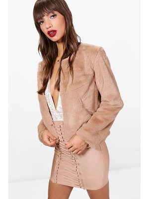 BOOHOO Amber Crop Faux Fur Coat
