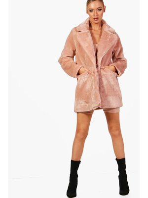 BOOHOO Amy Collar Faux Fur Coat