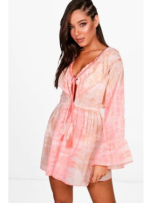 BOOHOO Amy Tie Dye Frill Beach Top