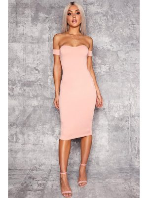 BOOHOO Ana Off Shoulder Curved Neckline Midi Dress