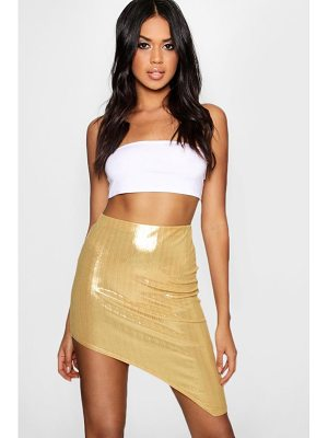 Boohoo Metallic Extreme Split Midi Skirt