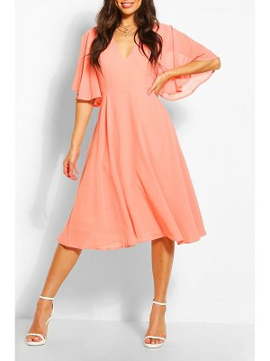 Boohoo Angel Sleeve Midi Skater Dress