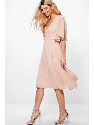 Boohoo Chiffon Angel Sleeve Midi Skater Bridesmaid Dress