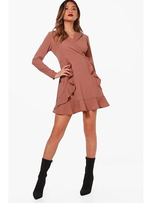 Boohoo Ruffle Front Collared Shirt Dress