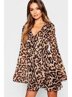 Boohoo Animal Print Ruffle Detail Skater Dress