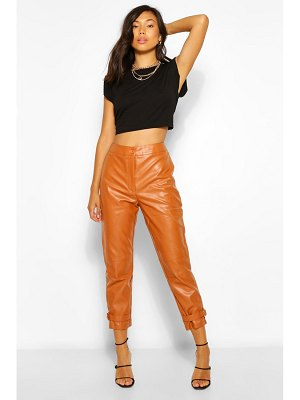 Boohoo Ankle Detail Faux Leather Slim Fit Pants