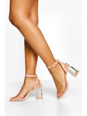 Boohoo Ankle Strap Clear Block Heel Two Parts