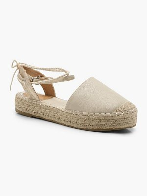 Boohoo Ankle Wrap Espadrille Flats