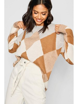 Boohoo Argyle Colour Block Jumper