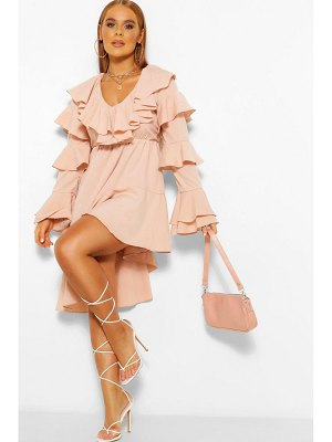 Boohoo Asymetric Ruffle Detail Midi Dress