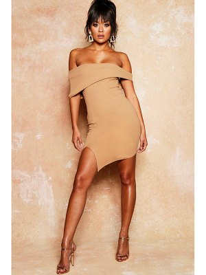 Boohoo Asymmetric Fold Over Bodycon Dress
