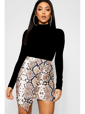 Boohoo Asymmetric Gold Button Snake Print Mini Skirt