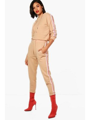 Boohoo Athleisure Sports Tape Hooded Tracksuit