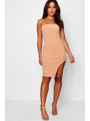 Boohoo Bandeau Side Split Knitted Dress