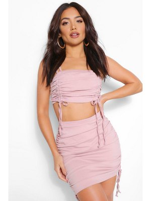 Boohoo Bandeau Top And Ruched Skirt Co-Ord Set