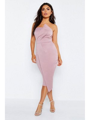 Boohoo Bandeau Wrap Detail Midi Dress