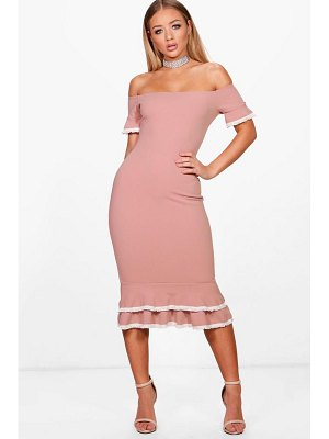 Boohoo Bardot Frill Lace Trim Midi Dress