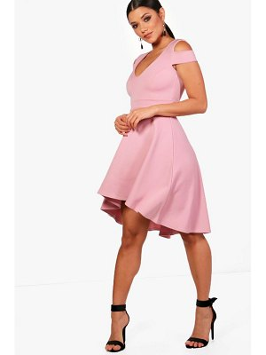 Boohoo Bardot Plunge High Low Skater Dress