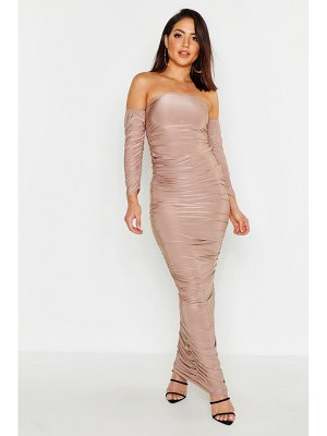 Boohoo Bardot Rouched Maxi Dress