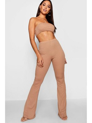 Boohoo Basic Bandeau And Flared Pants Co-Ord