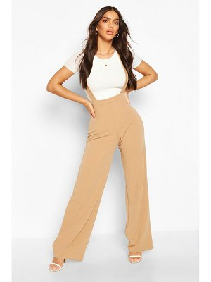 Boohoo Pinafore Stretch Crepe Wide Leg Pants