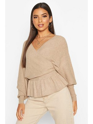 Boohoo Batwing Wrap Front Slouchy Sweater