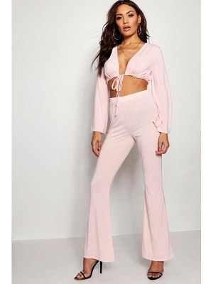 Boohoo Bell Sleeve Tie Front Flare Trouser Co-ord Set
