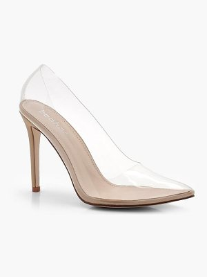 Boohoo Bella Clear Pointed Toe Court Shoes