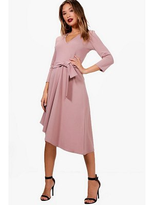 Boohoo Belted Asymmetric Midi Skater Dress