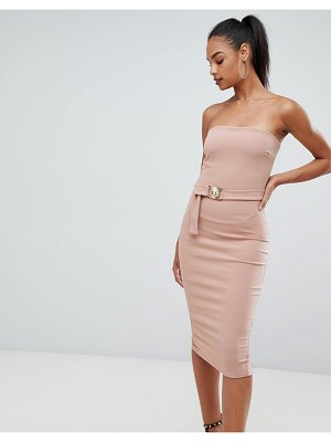 Boohoo belted bandeau midi bodycon dress