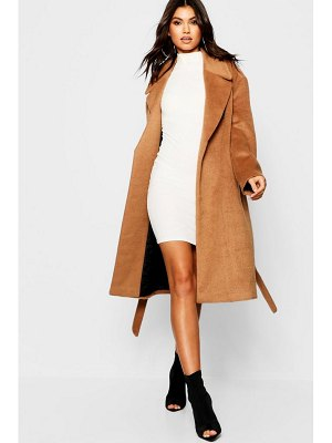 Boohoo Belted Brushed Wool Look Coat