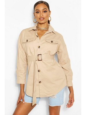 Boohoo Belted Button Utility Jacket