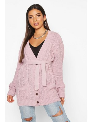 Boohoo Belted Cable Boyfriend Cardigan