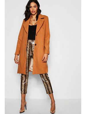 Boohoo Belted Collared Coat