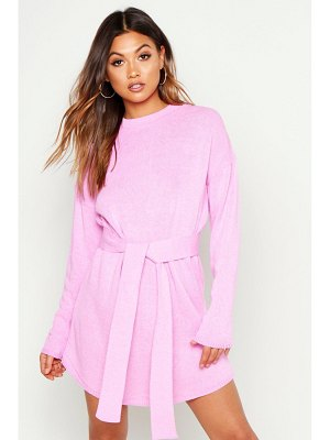 Boohoo Belted Crew Neck Mini Dress
