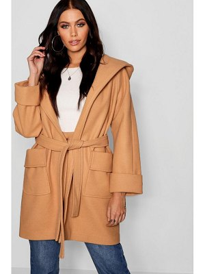 Boohoo Belted Hooded Coat