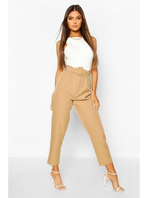 Boohoo Belted Pleat Front Ankle Grazer Pants