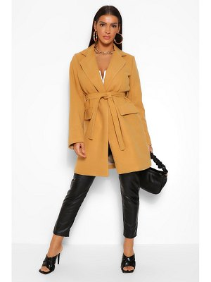 Boohoo Belted Pocket Detail Wool Look Coat