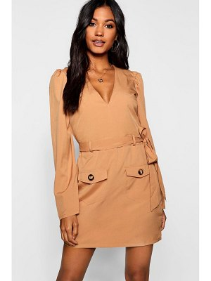 Boohoo Belted Pocket Front Utility Shift Dress