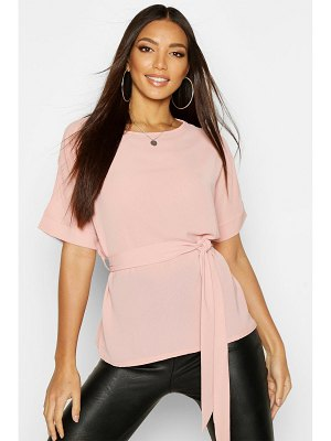 Boohoo Belted Woven Blouse