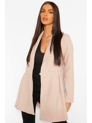 Boohoo Belted Wrap Detail Wool Look Coat