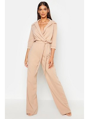 Boohoo Belted Wrap Front Wide Leg Jumpsuit